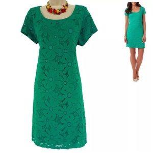 XL X-LARGE▫️EMERALD GREEN FLORAL LACE SHEATH Dress