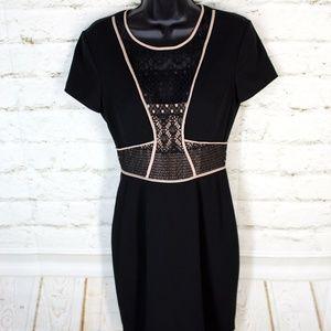 BCBGMAXAZRIA Libi Black Lace Peplum Cocktail Dress