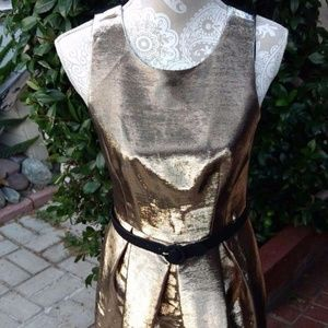 Eliza J Gold Metallic NYE Party Belted Tulip Dress