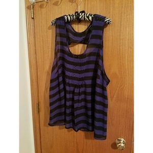 Black and dark blue striped top