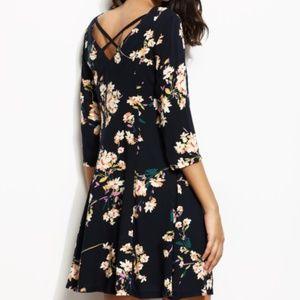 Navy Floral Print Criss Cross V Back Dress