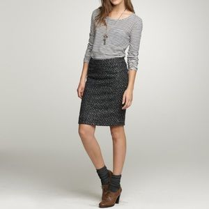 J Crew Moss Tweed Lined Pencil Skirt