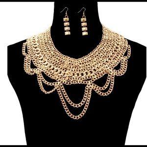 Gold Multilayered Bib Necklace Set