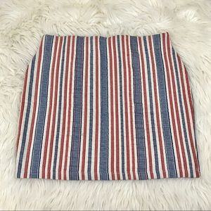 Zara Red White Blue Striped Textured Mini Skirt