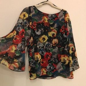 Alice + Olivia floral beaded top