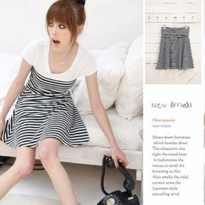 Black and white striped strapless skirt