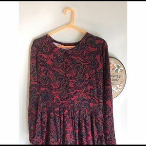 Talbots Red Paisley Long Sleeve dress