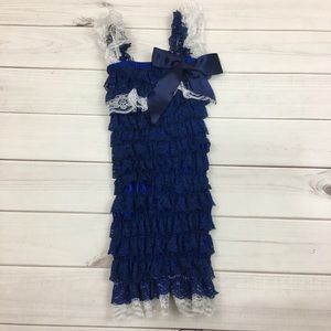 Other - Blue and white ruffled lace romper
