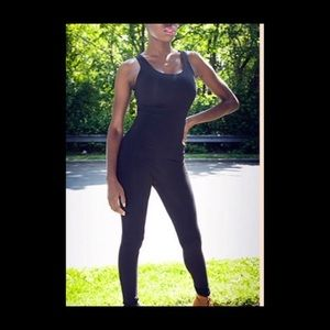 Full body black tank top spandex suit