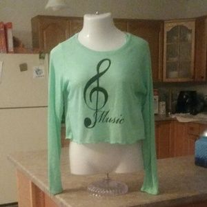 Hype L/S Mint Green Treble Clef Music Crop Tee XL
