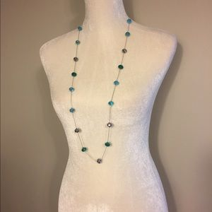 Blue & Silver Beaded Fashion Necklace