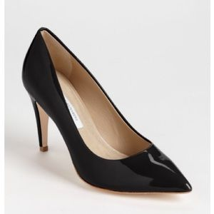 DVF Black Patent Leather Anette Heels Pumps 9