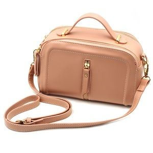 Multi-compartment leather pillow pink purse
