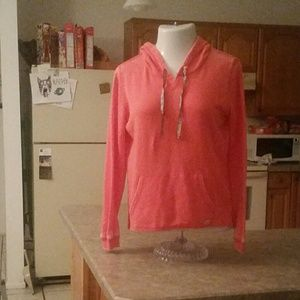 Billabong Coral Front Zip Draw String Hoodie Large