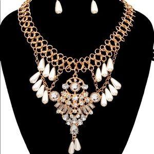 Beaded Stoned Necklace Set