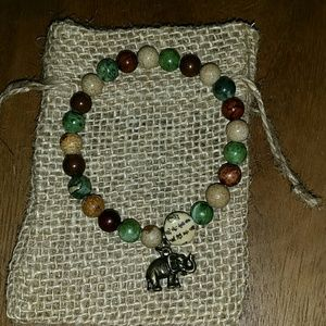 Jewelry - Mixed natural stones brass elephant charm bracelet