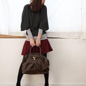 Golden keylock handbag / shoulder bag - Brown