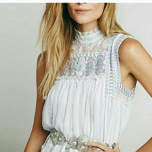 Free People Penny Babylon Embroidered Mini Dress