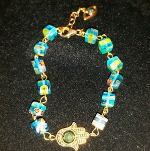 Jewelry - Evil eye hamsa hand millefiori glass beads Blue