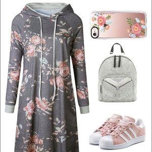 Grey Floral Print Hoodie Dress NWOT