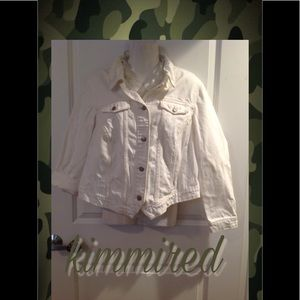 Old Navy White Distressed Denim Jacket ~ 1X