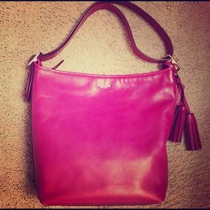 Coach Legacy Duffle Berry Leather Handbag
