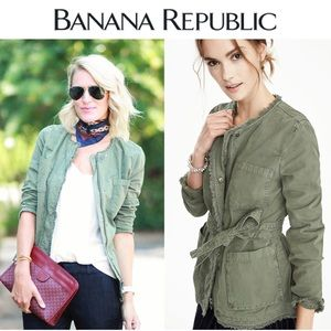 Banana Republic Olive Green Wrap Military Jacket
