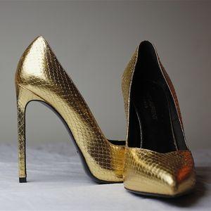 Saint Laurent YSL Metallic Gold High Heel Pointed