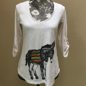 Anthropologie Porridge Pop Print Donkey Tee