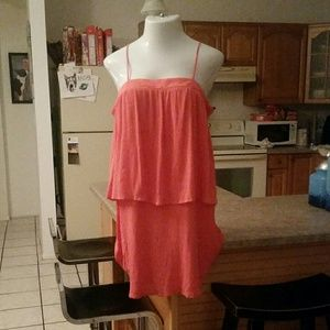 Mossimo Coral 2 Tiered Strapless Dress Size 14