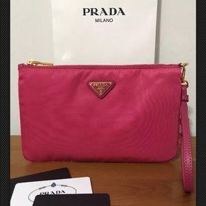 e4ba91d8a19c Prada Bags | Wristlet Contenitore Maniglia Tessuto Fuxia | Poshmark