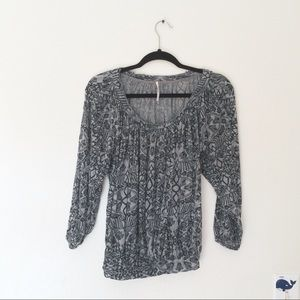 Free People Gray Black Print Top
