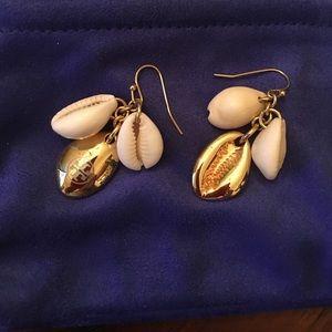 Tory Burch Mikah seashell cluster gold earrings