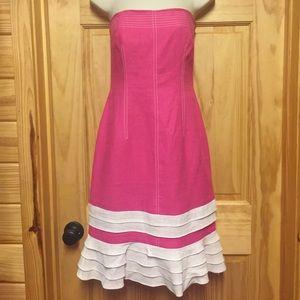 David Meister Hot Pink Strapless Dress