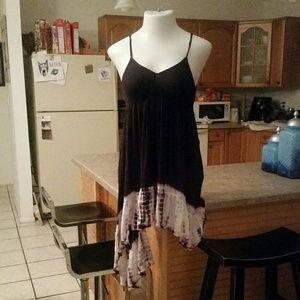 Surf Gypsy Black Tie Dye Uneven Dress Large