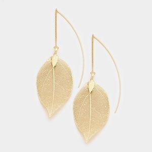 Filigree Leaf metal Dangle Earring