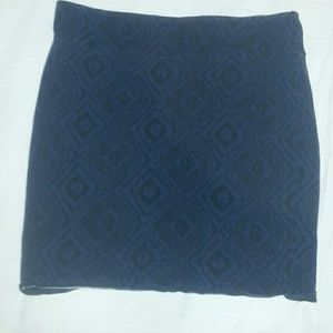 Black and blue body con skirt with diamond pattern