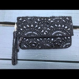 Aldo Beaded black zipped envelope clutch wristlet