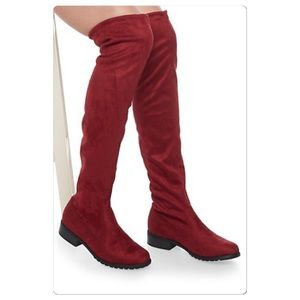 Shoes - New!! Thigh high tie back Faux Suede Boots in wine