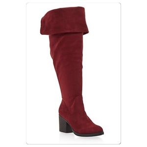 Shoes - New!! Over the knee cuffed Faux Suede heeled Boots