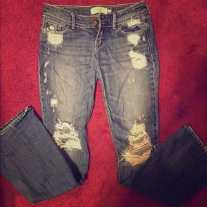 ripped flare abercrombie jeans