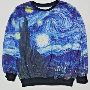 Starry Night Van Gogh Long Sleeve Sweatshirt M L