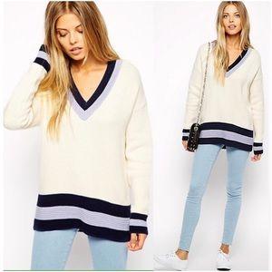 🆕ASOS Deep V Neck Color Block Sweater