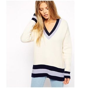 🆕ASOS Deep V Neck Color Block Sweater