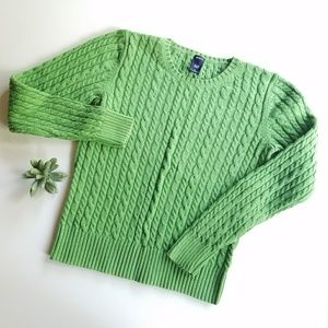 GAP Green Cable Knit Sweater Size M
