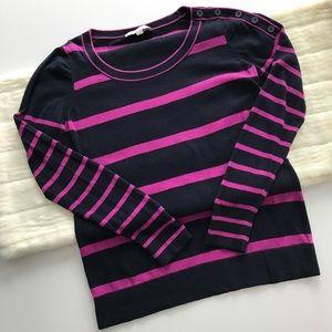 Ann Taylor LOFT Striped Button Detail Sweater