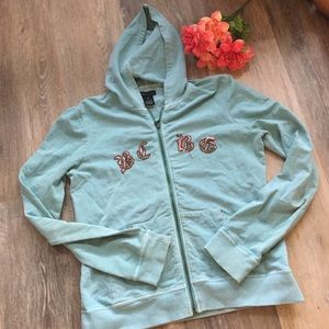 Vintage Wash BCBG Embroidered Hooded Jacket
