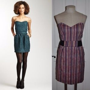 LUCCA COUTURE Ethnic Striped Strapless Dress