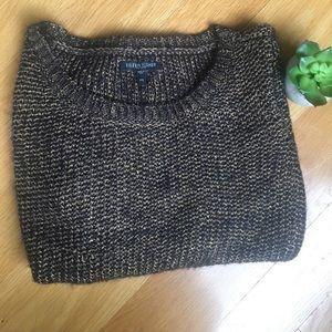 EILEEN FISHER black/gold open weave sweater PS