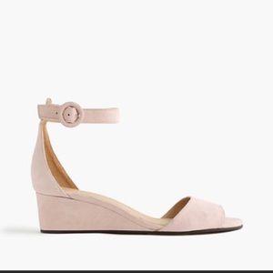 🌟J Crew Laila blush suede wedge sandals